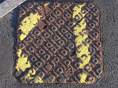 recycled (the incredible how (intermitten.t)) Tags: aberteifi manhole cardigan ceredigion yellowlines yellow pavement lowlight 20160514 6879