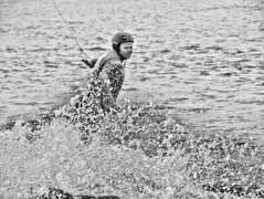 Making waves (Giel Pieter) Tags: nesselande sport rotterdam rotjeknor water watersport wakeboarding extreme bw