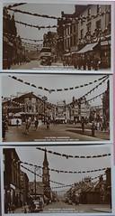 Kilmarnock 1937 (northerntourer) Tags: kilmarnock ayrshire kinggeorgevi decoration portland king street thecross bus cars people stmarnock church sepia postcards 1937