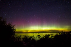 North Point Northern Lights (matthewkaz) Tags: auroraborealis northernlights lakemichigan lake water greatlakes sky night stars reflections northpoint astronomy lights colors charlevoix michigan 2016 bigdipper thebigdipper