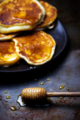 fritters with honey (Zoryanchik) Tags: food brown hot yellow closeup pancakes breakfast dessert lunch golden healthy dish sweet background tasty plate fresh stack honey fritter