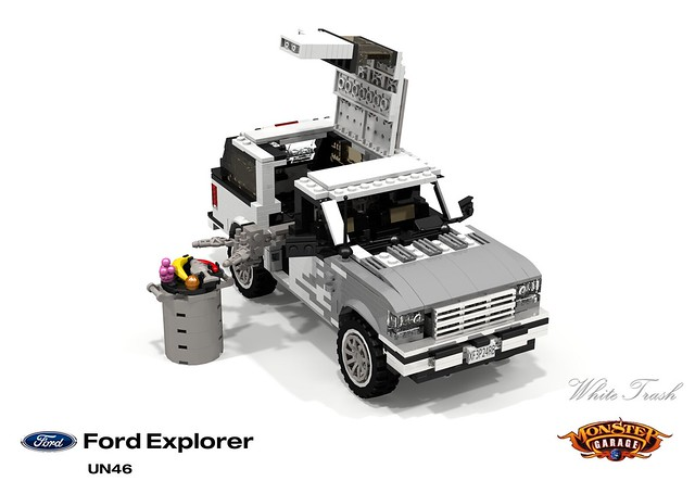 auto show usa white ford sports car monster trash america truck tv garbage model lego render garage explorer utility vehicle suv 90 challenge 1990s 1990 cad lugnuts povray moc ldd foolsrushin miniland foitsop lego911 un46