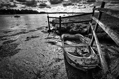 R.I.P. (Susan Shervington) Tags: uk blackandwhite bw water monochrome sunrise landscape boat blackwhite suffolk nikon outdoor woodbridge d90 riverdeben kysonpoint