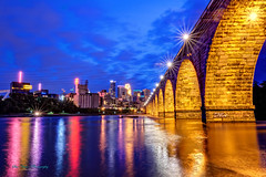 A Golden Night (Sue.Ann) Tags: minnesota river mississippi downtown minneapolis mississippiriver downtownminneapolis stonearchbridge