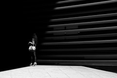 Untitled (RFVT) Tags: urban blackandwhite blancoynegro stripes human fujifilm urbanlandscape urbanvisions humanfactor xpro1 shotrun xgear humaningeometry urbancompo