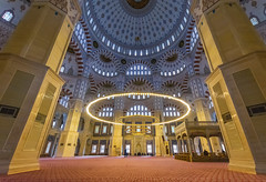 Sabanci Mosque, Adana (Nejdet Duzen) Tags: new city sky white color detail building green art beautiful architecture turkey landscape religious design view interior muslim islam religion central decoration culture mosque architectural dome oriental adana islamic anatolian sabanci
