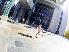 Diana, Los Angeles (kirstiecat) Tags: california shadow girl female youth america la losangeles exercise young free running run lacma active fisheyelens losangelescountymuseumofart