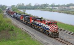 M348 (GLC 392) Tags: railroad rain cn train cloudy 9 indiana railway columbia canadian dyer dash national british in 2688 4643 c449w bcol c449wl m348