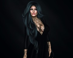 A beautiful Lady is a work of Art. (akashiy) Tags: blue sky black lady tattoos secondlife classy