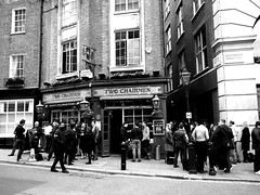 Sharing a pint... (Dennis Sparks) Tags: england london blackwhite pub twochairmen