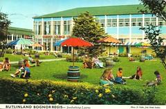 Butlins Bognor Regis - Sunbathing Lawns (trainsandstuff) Tags: butlins bognorregis holidaycamp postcard vintage johnhinde retro old history archival holidaycentre