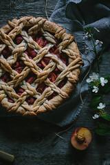 Golden Syrup Peach Pie by Eva Kosmas Flores | Adventures in Cooking (Eva Kosmas Flores) Tags: summer pie crust dessert spring berry pattern top peach howto pastry raspberry lattice braided