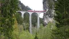 DSC04532 Train runs over the Landwasser viaduct near Filisur (Tery14) Tags: switzerland filisur train travel bridge viaduct landwasser berninaexpress
