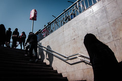 Salida / Exit (jfraile (OFF/ON slowly)) Tags: barcelona street blue sky color azul stairs subway shadows metro cielo salida exit sombras escaleras jfraile javierfraile