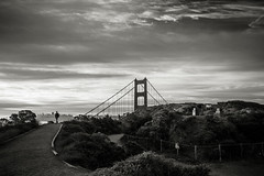 Some Velvet Morning (PetterPhoto) Tags: california pettersandell sanfrancisco goldengatepark sunrise sunset monochrome bridge walk solitude sky morning early promenade bw blackandwhite noiretblanc