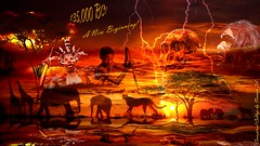 135,000 BC! (a2roland) Tags: life africa old eve trees light boy sunset elephant man adam history sahara animals collage modern photoshop landscape dessert skull early ancient bc christ time spears many african tiger ad creative lion theory darwin evolution structure historic medical thesis article genealogy giraffes bones land dna wikipedia bible blacks monkeys lightning concept 135 conceptual genesis prehistoric apes sciences gorillas neanderthal ancestory anthropolgy normanzeba2rolandyahoocoma2roland 00013500015000080000100000