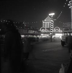 Southend Illuminations Thames Amusements Burgers Neon Lights Winter 1962 (Photos by Alf Jefferies) Tags: southend thames amusement seaside cruise signs burgers ladies hats lights neon illuminations