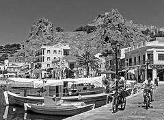 The Harbour - Myrina Town - Lemnos (BW) (Olympus OMD EM5II) (markdbaynham) Tags: island greek north aegean hellas evil olympus greece grecia gr zuiko omd csc oly mz limnos hellenic m43 zd mft lemnos myrina mirrorless micro43 mzuiko m43rd em5ii zuikolic