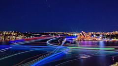 LIGHT TRAILS,  SYDNEY OPERA HOUSE,  VIVID SYDNEY (16th man) Tags: sydney circularquay cano nsw lighttrails sydneyharbour sydneyoperahouse sydneyharbourbridge millerspoint