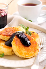 Quark cheese fried cakes (manyakotic) Tags: food cakes cheese pancakes breakfast dessert berry blackberry sweet homemade snack pastry brunch treat jam fried quark fritters cottagecheese