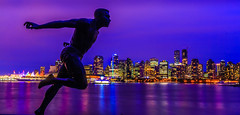 Vancouver Skyline (davecurry8) Tags: canada skyline vancouver bc stanleypark bluehour runner