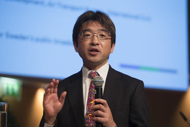 Toru Hasegawa takes the microphone
