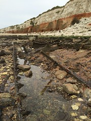 Wreck of steam trawler Sheraton on Hunstanton beach May 2015 (golden.ammonite) Tags: beach norfolk cliffs lowtide sheraton wreck hunstanton steamtrawler