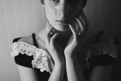 Beauty In Distress (Kimera~) Tags: flowers roses portrait blackandwhite beautiful glitter spring pretty portraitphotography blackandwhiteportrait 50mmlens indoorportrait rosepedals