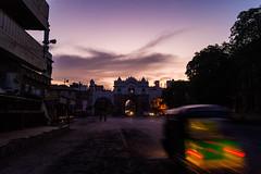 Morning Hues (Hitarth Joshi) Tags: road street old city morning blue light india architecture sunrise dawn gate asia long exposure cityscape traffic trails hour tuktuk rickshaw streaks hue baroda gujarat mandvi vadodara lehripura