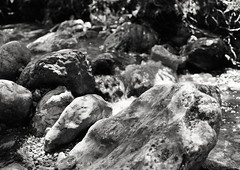 Waterfall (Sam Rushton Photos) Tags: blackandwhite mountains alps travelling annecy film nature monochrome darkroom landscape europe cityscape stones oldschool 120film medium analogphotography mamiya645 villiage 2015 formatfrance