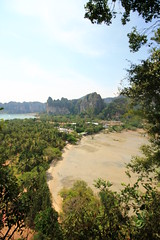 Railay Beach Krabi - The Lookout (mattegerton) Tags: ocean travel blue sea sky cliff baby sun holiday tree beach water animal landscape monkey sand rocks tourist lookout wanderlust backpacking limestone longboat traveling backpacker leh rai railay
