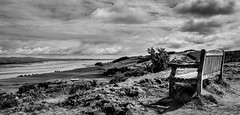 Inbound (Brannan Photography) Tags: sea sky blackandwhite cloud white storm black water monochrome field clouds contrast river bench landscape mono scotland view fife country scenic monochromatic canoncanon700d