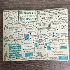 "Sketchnotes from #HCID2015 ""The (M)admen of the 50s were the first User Experience designers."" talk by Jon Dodd (Drawn by Makayla Lewis) (maccymacx) Tags: notes sketching ux deaign sketchnotes hcid015"