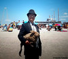 Dr. Takeshi Yamada and Seara (sea rabbit) at the Coney Island Beach in Brooklyn, New York on July 25, 2014. 20140725 100_3408=