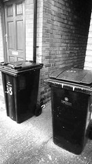 The Kray bins (mary01985) Tags: white black trash manchester gangster twins rubbish council waste refuse recycle bins krays blackwhitefilter