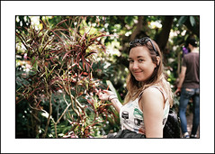 (me666) Tags: camera trees portrait plants film girl smile sunglasses by analog 35mm grain 200asa contax vista g1 plus agfa carlzeiss contaxg1 planar45mm 45mmf2 matthewashby