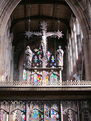 Coventry - St John the Baptist (pefkosmad) Tags: uk england church architecture worship catholic cross interior religion nave crucifix coventry warwickshire churchofengland parishchurch stjohnthebaptist roodscreen