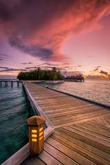 Mirihi Island Sunset (Myu83) Tags: ocean travel red water clouds island paradise resort lantern maldives decking villas watervilla mirihi
