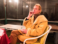 Nick (Highburnate) Tags: winter red lake canada calgary night lumix coat nick smoking ring deer panasonic jacket nathalie alberta blonde sunroom parka shearling gx8 weiswasser highburnate dmcgx8