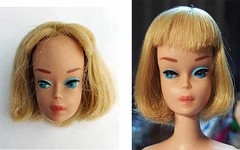 Low color American Girl (Pania Cope) Tags: color girl vintage casey mod magic barbie skipper before american restore restoration after swirl ponytail tnt midge tlc sidepart bubblecut