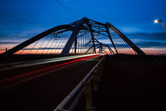 (angheloflores) Tags: city longexposure bridge sunset sky urban netherlands colors amsterdam architecture night clouds lights trails explore