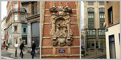 Maisons  Bruxelles, et mdaillon sur la faade de lglise Notre-Dame aux Riches-Claires, Brussels, Belgiume (claude lina) Tags: brussels belgium belgique bruxelles claudelina