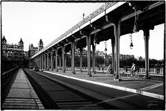 Riders on Pont Bir-Hakeim, Paris (josefrancisco.salgado) Tags: bridge bw paris france blancoynegro monochrome bicycle puente blackwhite nikon europa europe ledefrance eiffeltower bicicleta eiffel toureiffel torreeiffel grayscale nikkor fr pontbirhakeim d4 2470mmf28g