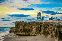 Tower and Rocks (tclaud2002) Tags: morning sky seascape tower beach clouds canon outside outdoors photography sand rocks florida bluesky stuart palmtree tropical tropics observationtower 70d houseofrefuge hutchinsonisland