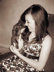 Puppy Kisses (disneyred) Tags: dog pet me girl smile sepia puppy kiss dress kisses indoor redhead freckles