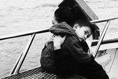 Comfort (Wildlife_Biologist) Tags: ocean blackandwhite bw love monochrome boat hugging human comfort motherandchild motherandson bonding whalewatching homosapiens wildlifebiologist jeffahrens