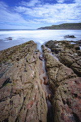 Pease Bay, Scotland, 15th May 2016. (garyal23) Tags: blue sky cliff cloud color colour water lines rock clouds canon bay big long exposure angle wide rocky lee l 17 40 leading lansdscape stopper converge pease 6d converging