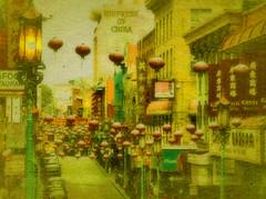 "S.F. Chinatown (""Cisco Kid"") Tags: sanfrancisco texture photoshop asian chinatown lanterns"