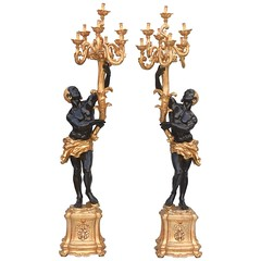 Pair of Carved Ebonized and Giltwood Blackamoor Torchieres (thehighboy) Tags: lighting miami antiques collectibles highboy candelabras giltwood decorativeaccessories blackamoortorchieres
