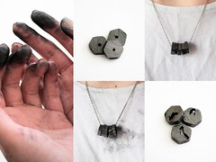 Graphite necklace process (chloejadeyoung) Tags: camera light sunlight black detail art texture canon project photography design necklace 3d student hands natural personal body drawing tripod traces manipulation before jewellery marks research change after material unusual wearable piece process sequence playful leftover development ephemeral graphite transient worndown impermanent artfoundation emperiment 700d graphitestick